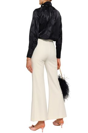 MOTHER OF PEARL Ruffle-trimmed embellished satin-jacquard blouse