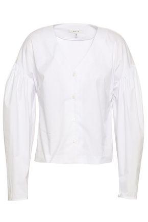 MILLY Gathered cotton-blend poplin shirt