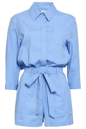 MILLY Gathered cotton-blend poplin playsuit