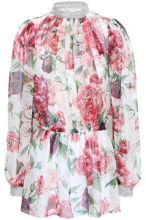DOLCE & GABBANA Floral-print silk-voile blouse