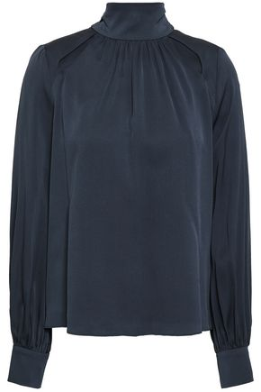 MILLY Cutout gathered silk-blend crepe blouse