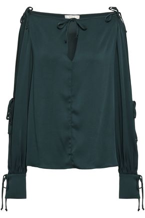 MILLY Connie cold-shoulder stretch-silk blouse