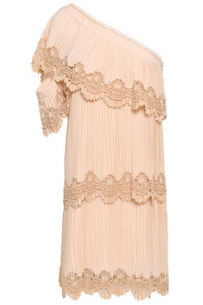 SELF-PORTRAIT One-shoulder guipure lace-trimmed pleated crepe mini dress