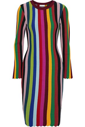 MILLY Scalloped striped intarsia-knit dress