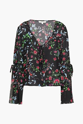 MILLY Maggie floral-print silk-crepe blouse