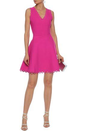 0db5a861c29 MILLY Flared scalloped cutout stretch-knit mini dress