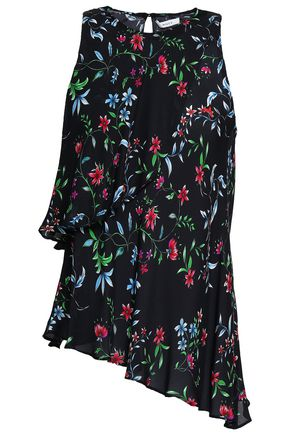 MILLY Asymmetric layered floral-print silk-crepe top