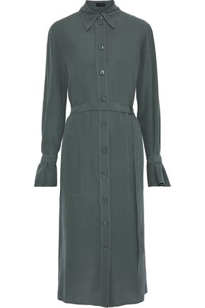 JOSEPH Locke belted washed-silk midi shirt dress