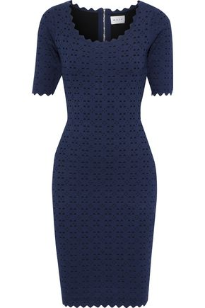 MILLY Scalloped laser-cut stretch-knit dress