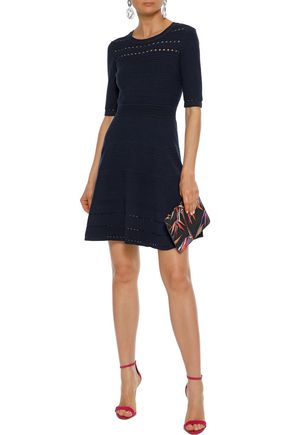 Milly Woman Flared Knitted Mini Dress Navy
