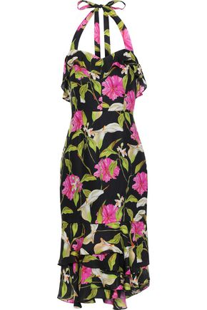 MILLY Ruffled floral-print silk-chiffon halterneck dress