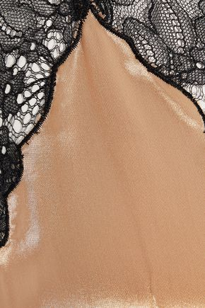 HELMUT LANG Chantilly lace-trimmed charmeuse midi slip dress