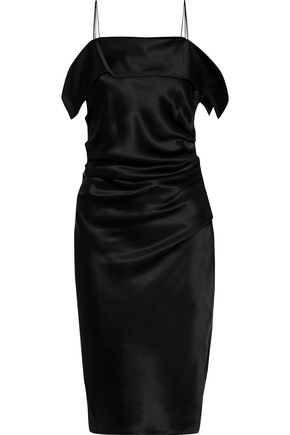 HELMUT LANG Draped gathered satin dress