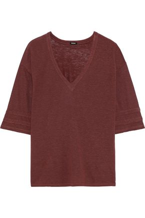 MONROW Oversized slub Tencel and linen-blend T-shirt