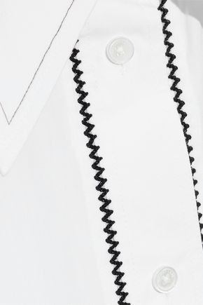 HELMUT LANG Embroidered cotton-poplin shirt