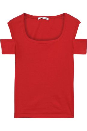 HELMUT LANG Cold-shoulder cotton-jersey top