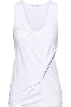 HELMUT LANG Twisted draped cotton-blend jersey tank
