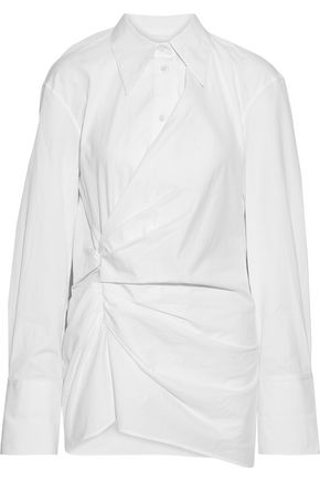 HELMUT LANG Draped cotton-poplin shirt
