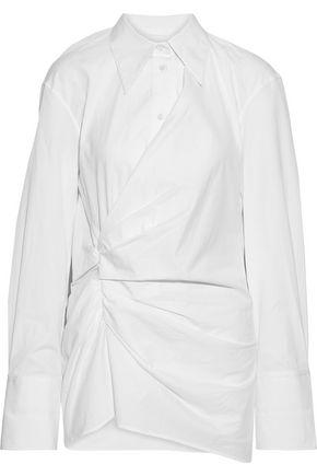 HELMUT LANG Draped cotton-poplin shirt