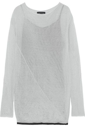 RAG & BONE Flora metallic open-knit mini dress