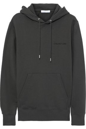 HELMUT LANG Printed French cotton-terry hoodie