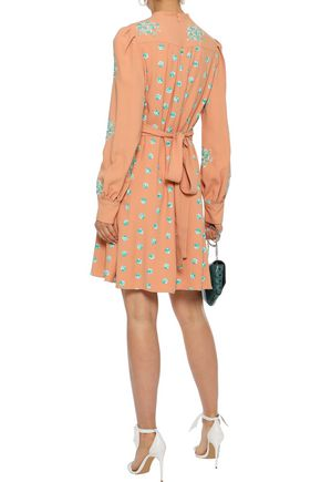 CHLOÉ Belted embroidered cady mini dress
