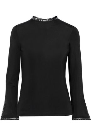 HELMUT LANG Studded faux leather-trimmed stretch-jersey top