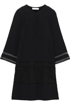 CHLOÉ Lace-paneled cady mini dress