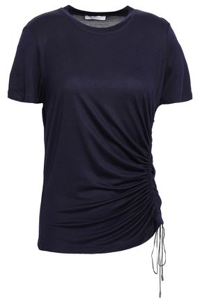 NINETY PERCENT Lace-up mélange T-shirt
