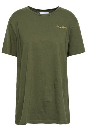 NINETY PERCENT Embroidered cotton-jersey T-shirt