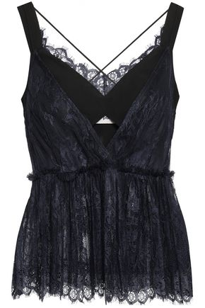 SELF-PORTRAIT Ruffle-trimmed cutout lace and cady camisole