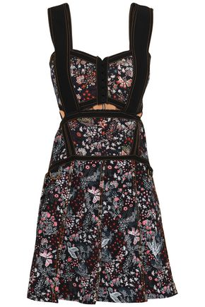 SELF-PORTRAIT Cutout floral-jacquard mini dress