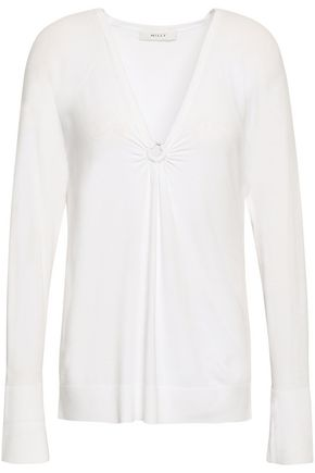 MILLY Embellished stretch-knit top