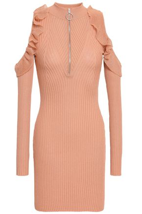 SELF-PORTRAIT Cold-shoulder ribbed cotton-blend mini dress