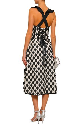 SELF-PORTRAIT Lace-up flared fil coupé midi dress
