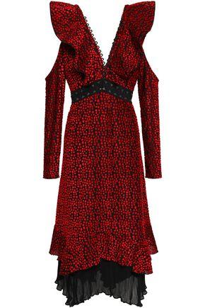 91453598afd4 Cold-shoulder ruffled devoré-velvet midi dress | SELF-PORTRAIT ...