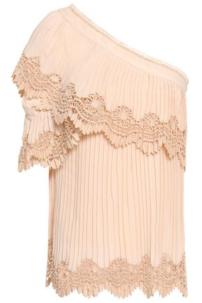 SELF-PORTRAIT One-shoulder guipure lace-trimmed pleated crepe top