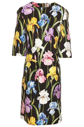 DOLCE & GABBANA Floral-print cotton-blend jacquard mini dress