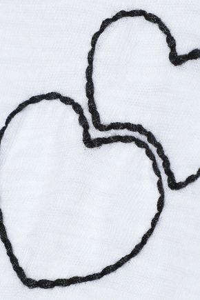 RAG & BONE Double Heart embroidered slub Pima cotton T-shirt