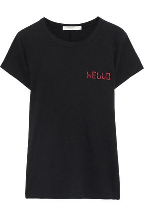 RAG & BONE Embroidered slub Pima cotton-jersey T-shirt