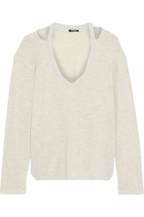 MONROW Cutout mélange French terry top