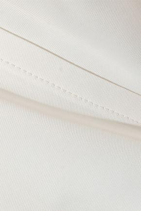 HELMUT LANG Cold-shoulder draped twill wrap top