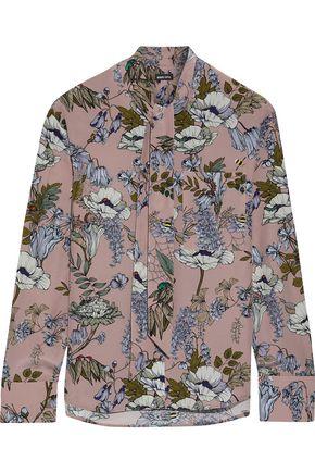 MARKUS LUPFER Abbie tie-neck floral-print silk crepe de chine blouse