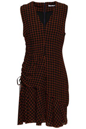 DEREK LAM 10 CROSBY Ruched checked silk-georgette mini dress