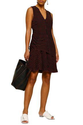 DEREK LAM 10 CROSBY Ruched checked silk-georgette mini dress