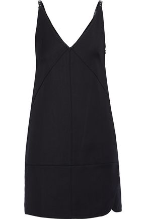 HELMUT LANG Studded faux leather-trimmed ponte mini slip dress