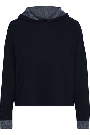 MONROW Mélange ribbed knit-paneled French-terry hoodie