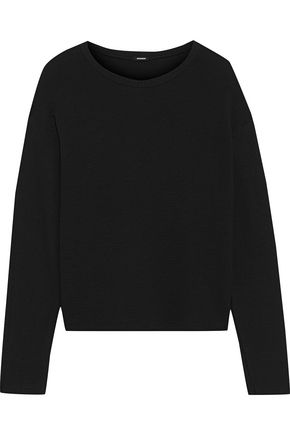 MONROW Ribbed knit-paneled French terry top
