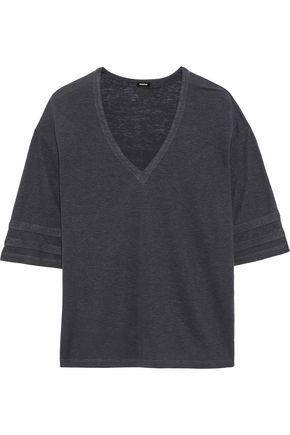 MONROW Oversized slub Tencel and linen-blend T-shirt
