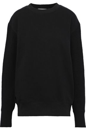 HELMUT LANG Ribbed knit-paneled French cotton-terry sweatshirt